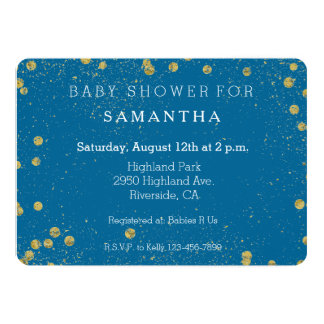 Gold Turquoise Glittery Confetti Dots baby shower Card