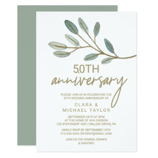 Gold Veined Eucalyptus 50th Wedding Anniversary Card