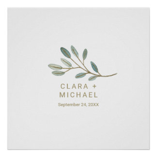 Gold Veined Eucalyptus Wedding Guestbook Poster