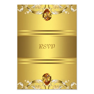 Gold Victorian Flowers Gold 50th Anniversary RSVP 9 Cm X 13 Cm Invitation Card