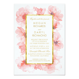 Gold Vintage Blush Floral Wedding 13 Cm X 18 Cm Invitation Card
