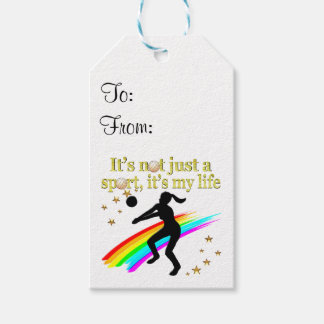 GOLD VOLLEYBALL IS MY LIFE DESIGN GIFT TAGS