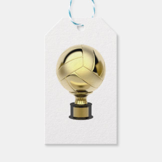 Gold volleyball trophy gift tags
