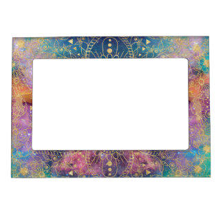 Gold watercolor and nebula mandala magnetic frame