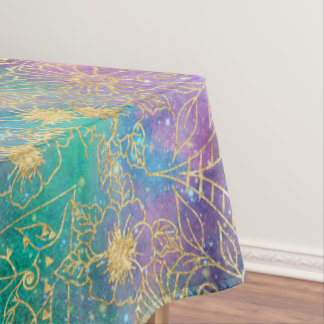 Gold watercolor and nebula mandala tablecloth