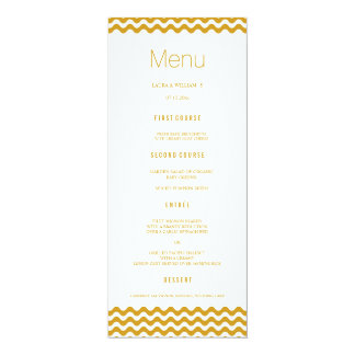 Gold Wave Chevron Wedding Dinner Menu Cards 10 Cm X 24 Cm Invitation Card