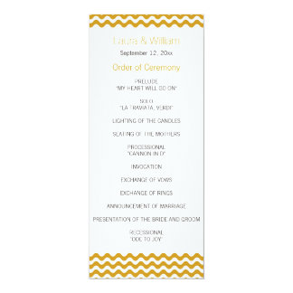 Gold Wave Chevron Wedding Program 10 Cm X 24 Cm Invitation Card