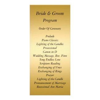 Gold Wedding Program Custom Rack Cards