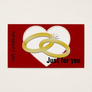 Gold Wedding Rings Heart Romantic Bridal Business Card
