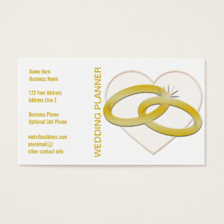Gold Wedding Rings Heart | Wedding Planner Bridal Business Card