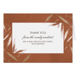Gold Wheat Fall Orange Wedding Thank You Note Card