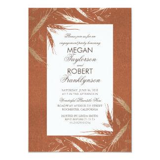 Gold Wheat Rustic Orange Fall Engagement Party 13 Cm X 18 Cm Invitation Card
