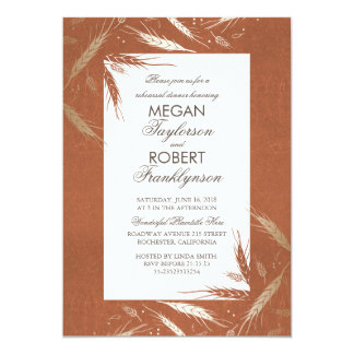 Gold Wheat Rustic Orange Fall Rehearsal Dinner 13 Cm X 18 Cm Invitation Card