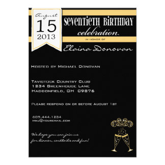 Gold White and Black Champagne 70th Birthday Personalized Invitations