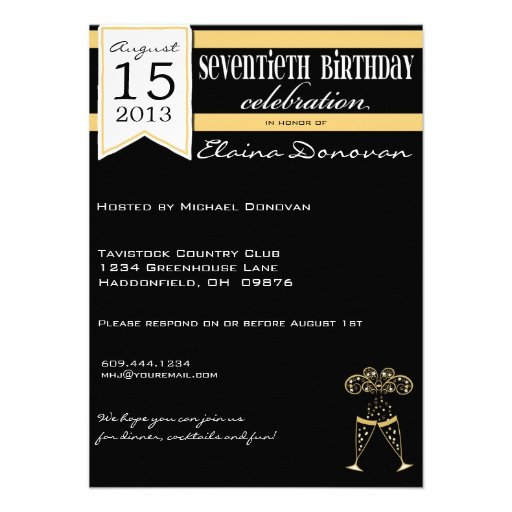 Gold, White and Black Champagne 70th Birthday Personalized Invitations
