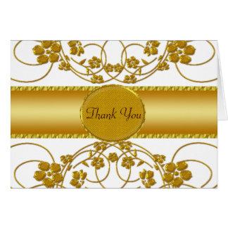 Gold & White Floral Wedding Monogram Card