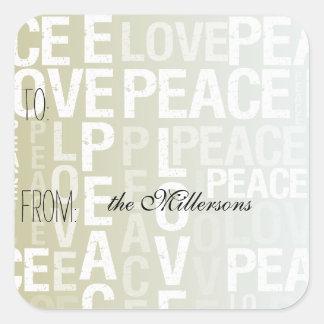 Gold White Ombre Love Peace Gift Tag Square Sticker