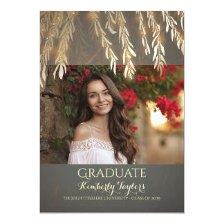 Gold Willow Photo Graduation Party Announcement