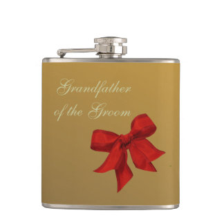 Gold with Red Bow GRANDFATHER OF THE GROOM Flask