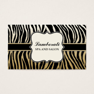 Gold Zebra Print Hair Stylist Hairdresser Salon Business Card