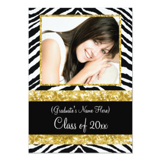 "Gold Zebra Sparkle Girls Graduation Party 5"" X 7"" Invitation Card"