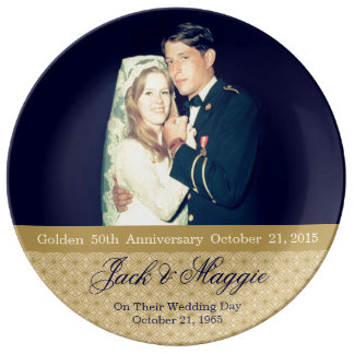 Golden 50th Anniversary | Commemorative Plate Porcelain Plate