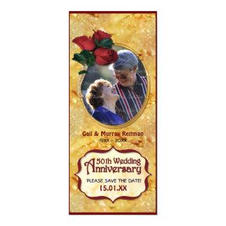 Golden 50th Anniversary 10 Cm X 24 Cm Invitation Card
