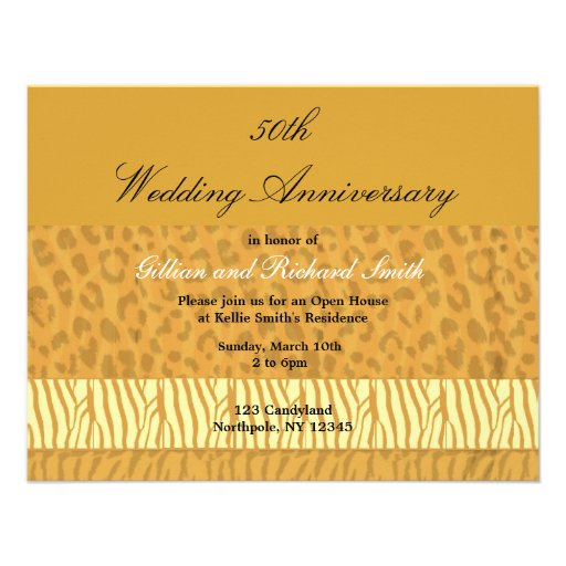 Golden 50th Wedding Anniversary Invitation
