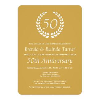 Golden 50th Wedding Anniversary Invite