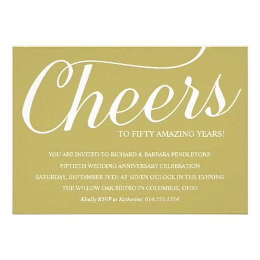 Golden 50th Wedding Anniversary Party Invitation