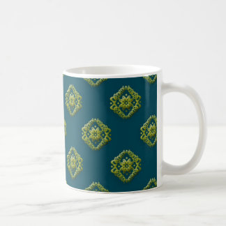 Golden Abstract Flowers On Prussian Blue Mugnifice Basic White Mug