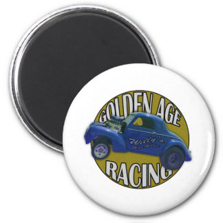 Golden Age Willys Gasser Drag Racing Blue and Gold Magnet