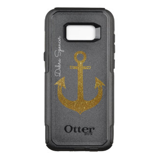 golden anchor, personalized nautical OtterBox commuter samsung galaxy s8+ case