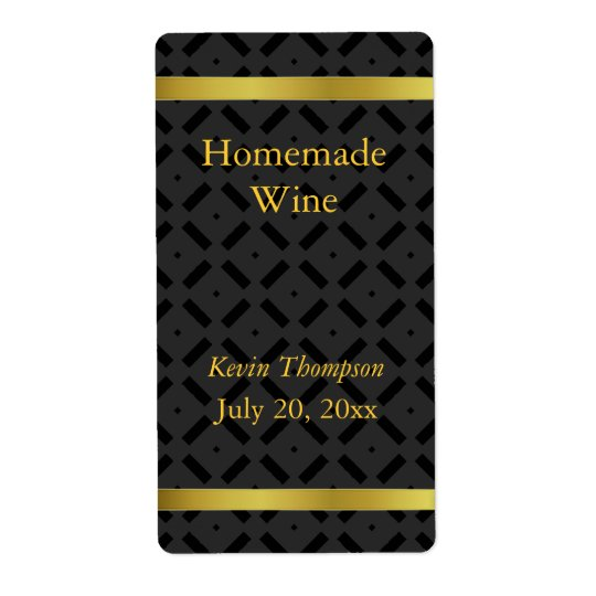 Golden and Black Homemade Wine Label