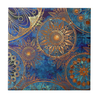 GOLDEN AND BLUE ART SMALL SQUARE TILE