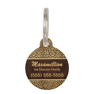 Golden and Brown Cheetah for Pets Pet Tags