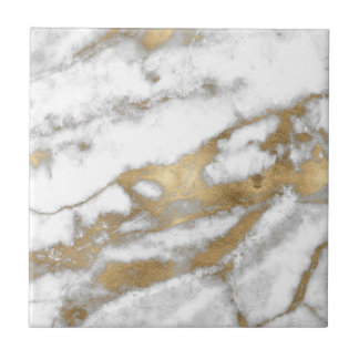 Golden and White Marble Small Square Tile