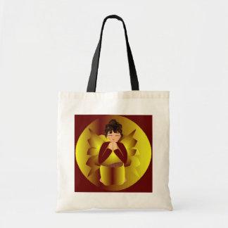 Golden Angel In Natural And Black I Budget Tote Bag