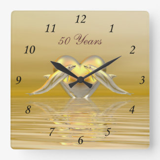Golden Anniversary Dolphins and Heart Square Wall Clock
