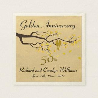 Golden Anniversary Love Birds Disposable Serviette