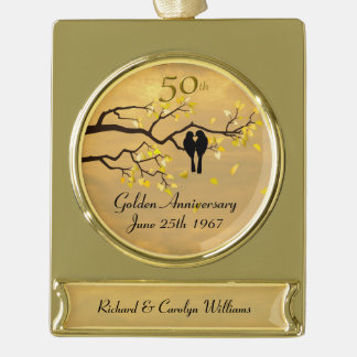 Golden Anniversary Love Birds Gold Plated Banner Ornament