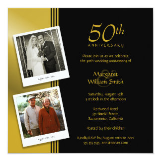 Golden Anniversary Party Plus 2 Photos 13 Cm X 13 Cm Square Invitation Card