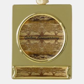 Golden Anniversary Radiant Reflections Gold Plated Banner Ornament