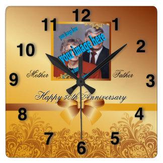 Golden Anniversary Square Wall Clock