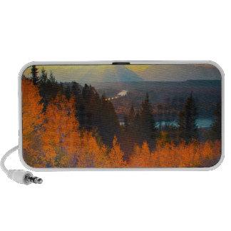 Golden Aspens Above Snake River At Sunset Portable Speakers