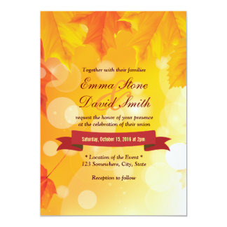 Golden Autumn Leaves Fall Wedding Invitations