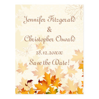 Golden Autumn Leaves Save the Date Postcard