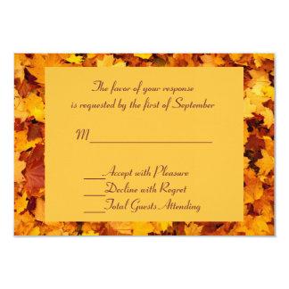 Golden Autumn Leaves Wedding RSVP Card 9 Cm X 13 Cm Invitation Card