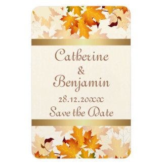 Golden Autumn Leaves Wedding Save the Date Magnet