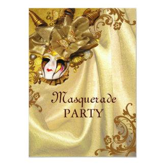 Golden Baroque Masquerade Party Card